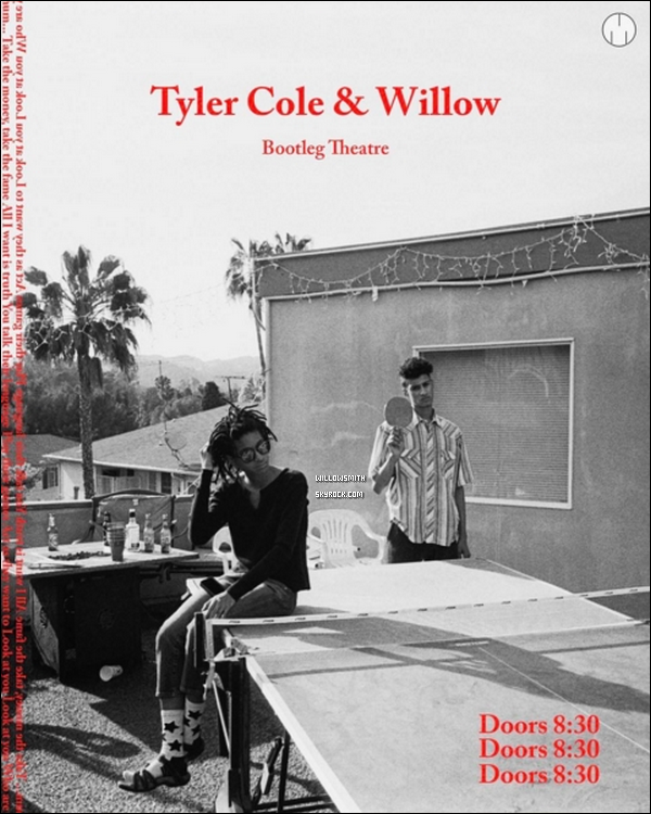 ......  Découvre l'affiche du spectacle de Willow et Tyler, qui se produiront le 20 mai prochain au Bootleg Theâtre à Los Angeles ! Pour réservez vos tickets dès maintenant c'est : ici !     ......