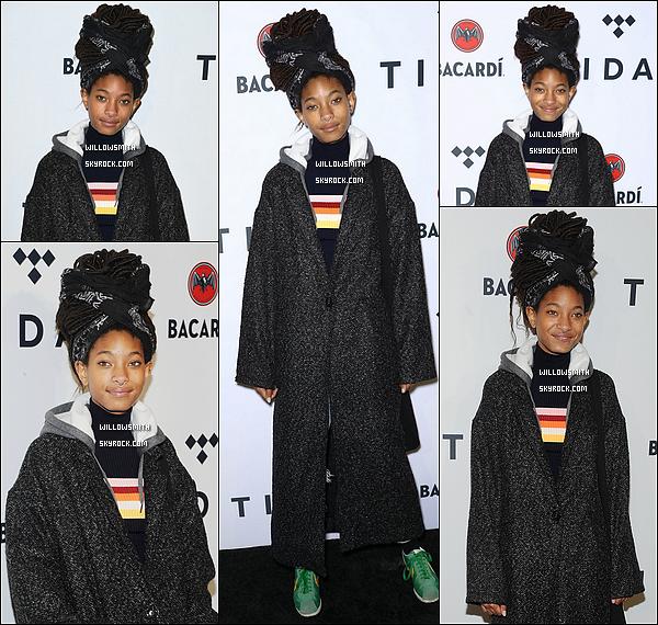 """. 17/10 : La belle Willow Smith était présente au concert """"TIDAL X Brooklyn"""" au Barclays Center à Brooklyn, New York.  J'aime assez bien ce qu'elle porte même si je trouve que la tenue la vieillit après concernant les baskets j'aime pas du tout FLOP !          ."""