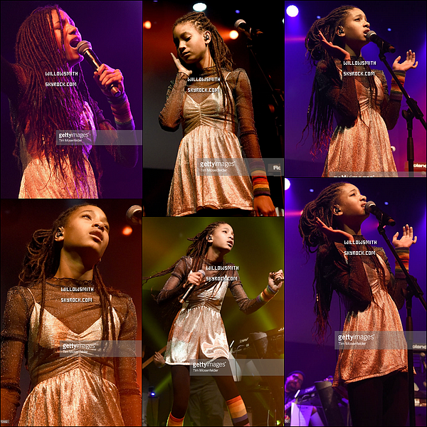 . 10/12 : Willow s'est produit lors du 'Trip Tour' au The Regency Ballroom dans la ville de San Francisco, Californie. Willow était toute mignonne dans sa petite robe j'aime beaucoup ce qu'elle portait sur scène ça lui allait a ravir. Et toi, t'aimes sa tenue ?!            .