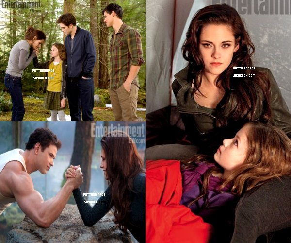Twilight BD2 dans Entertainment Weekly    On peut y voir Edward, Bella, Jacob et l'interprète de Renesmée Mackenzy Foy sur la couverture du magazine.