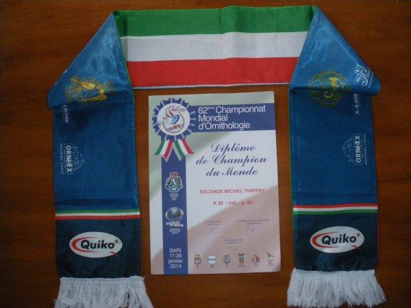 Résultat championnat du monde BARI 2014 en Italie