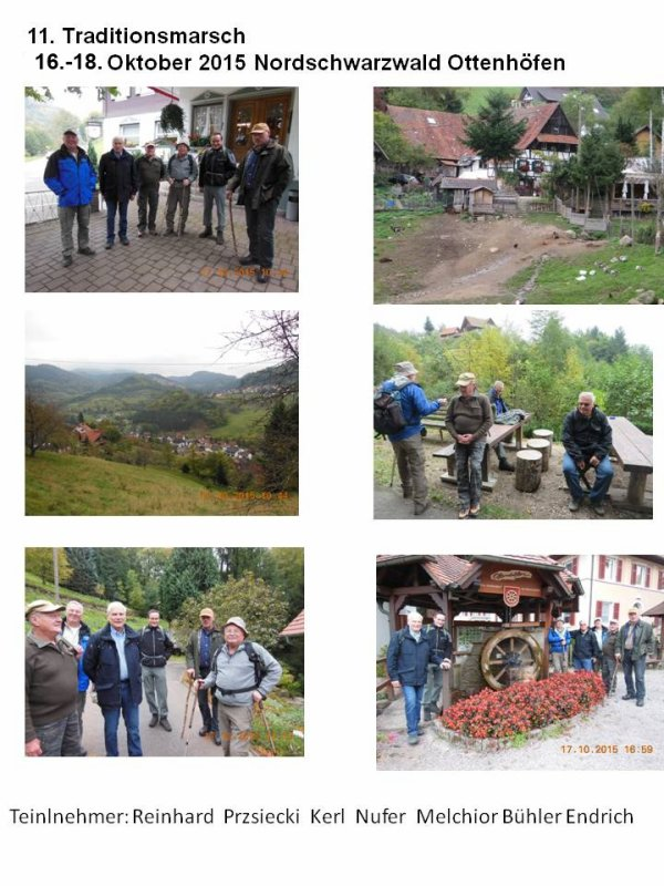 11. Traditionsmarsch 16. - 18. Oktober 2015 Nordschwarzwald