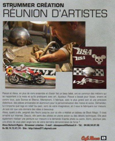 """ARTICLE DE PRESSE PARU DANS LE MAGASINE """"CAFE RACER"""" N° 49"""