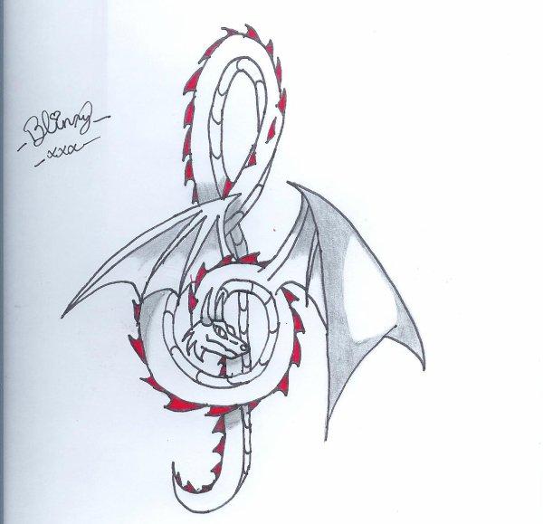 Dragon en clé sol =D