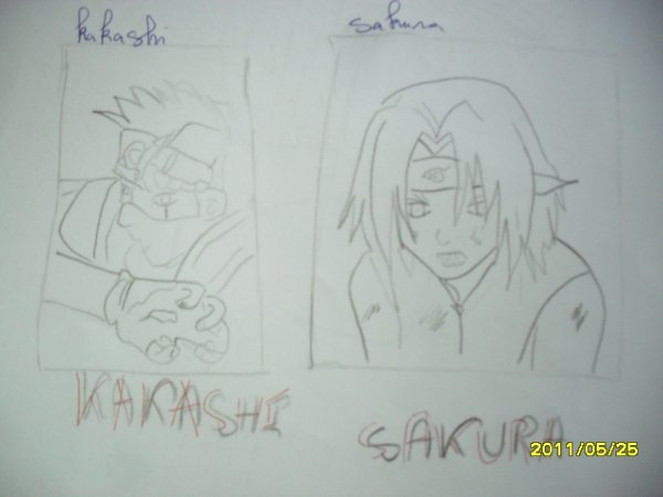 trois dessins Naruto-kakashi-sakura-chester bennington