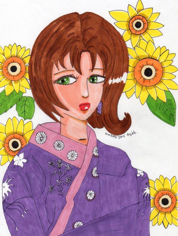jeune fille en kimono en finition