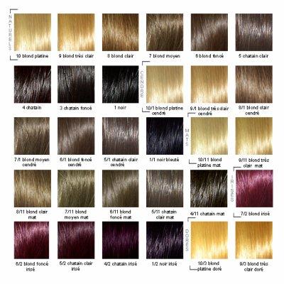 Palette couleur pour coloration cheveux