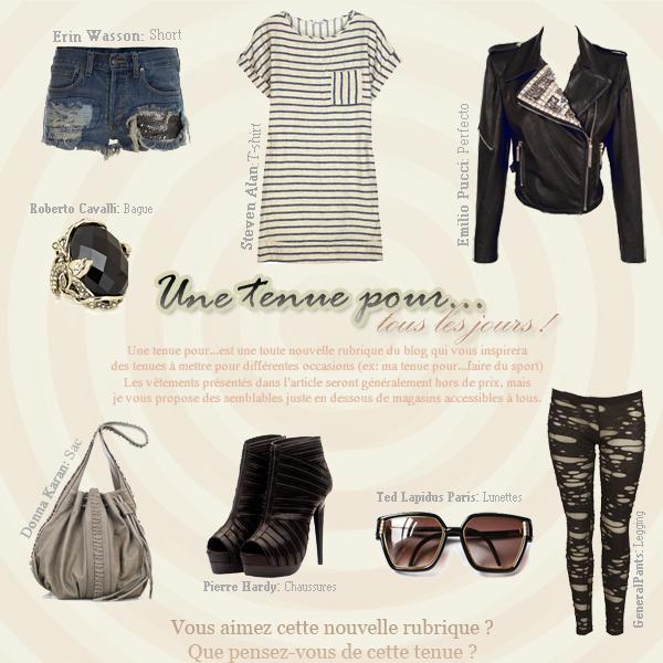 ----NEW! Rubrique: Une tenue pour... Vêtements non-marque: T-shirt - Perfecto - Short - Legging - Chaussures - Sac - Lunettes - Bague ----