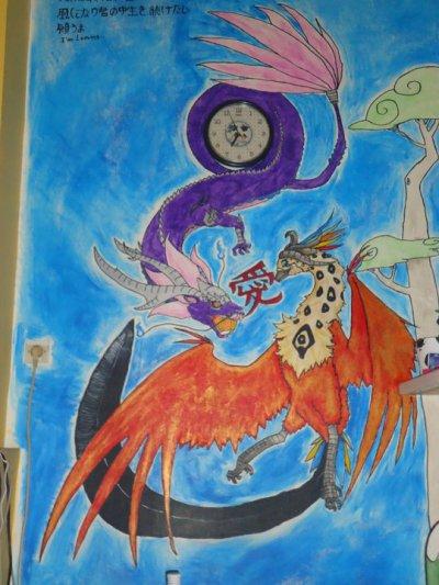 le muur que j'ai peint(comme un vaillant avec mes doigts(ou carrément la main))