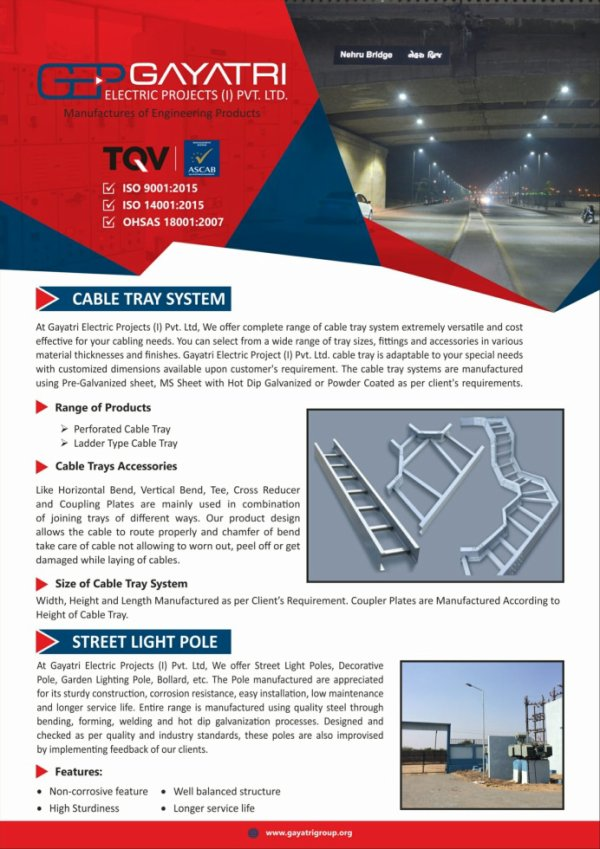 Cable Tray System and Street Light Pole