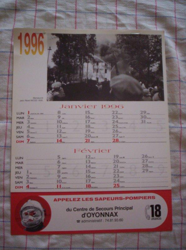 A  VENDRE : Calendriers Sapeurs-Pompiers d'Oyonnax 01, année 1996, neuf. Prix : 2 ¤