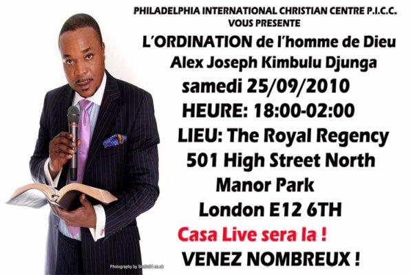 ORDINATION DU PASTEUR ALEX JOSEPH KIMBULU DJUNGA CE SAMEDI A LONDRE