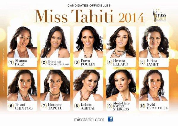 Candidates Miss Tahiti 2014