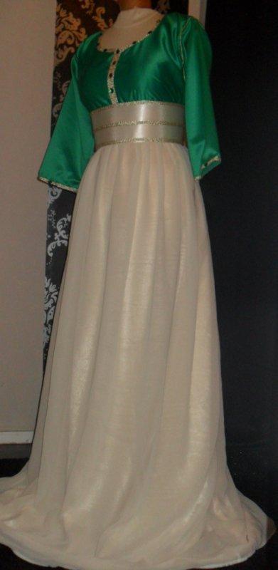 Robe vert/beige