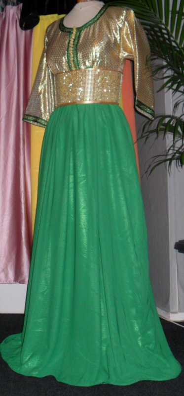 Robe dorée/vert