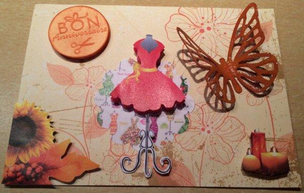 Carte d'anniversaire thème couture