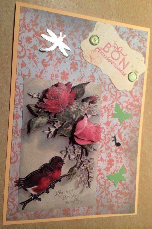 Carte d'anniversaire Oiseaux et Roses