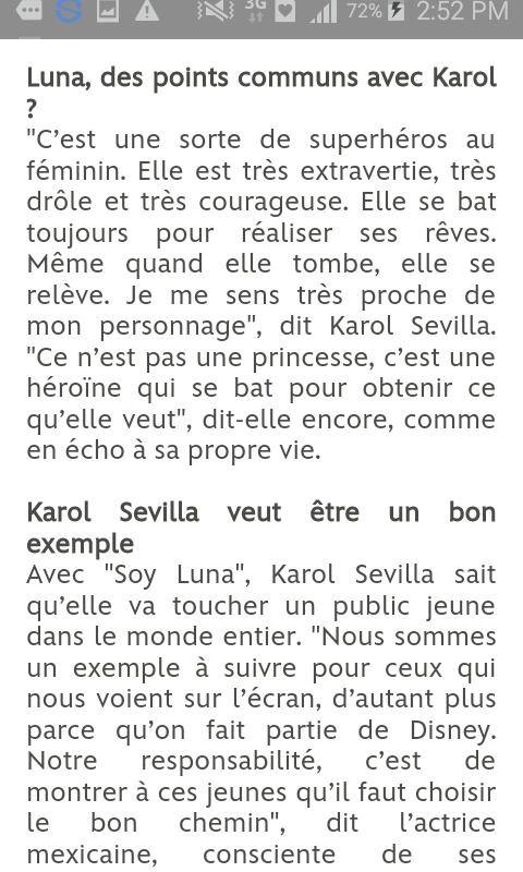 Secret sur Karol Sevilla