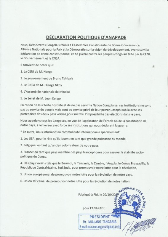 declaration politique d'ANAPADE