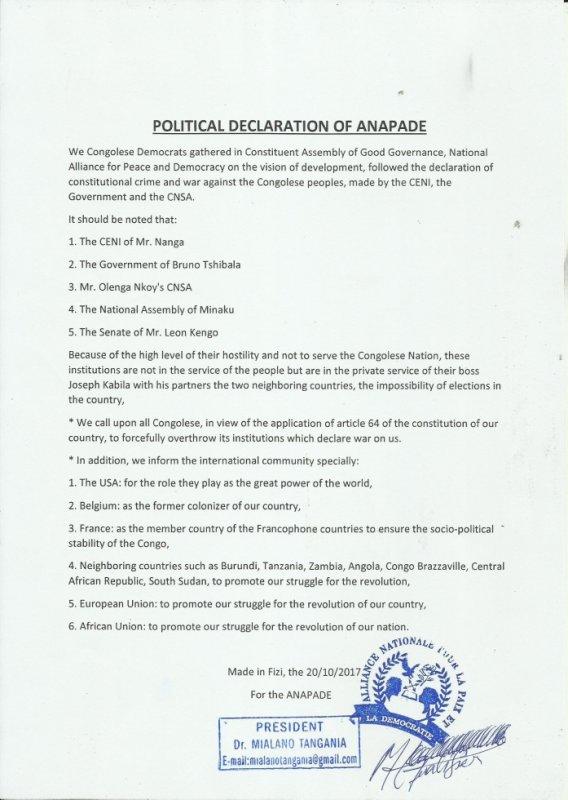 Une Declaration politique de l'ANAPADE