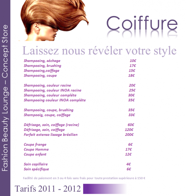 Tarif coiffure fashion beauty lounge - Tarif de coiffure en salon ...