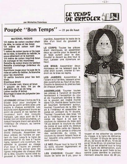 poupée a fabriquer! pour les bricoleuses (eurs) magazine voix de femmes