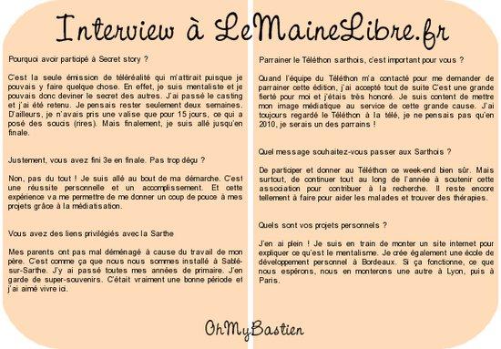 Interviews de Bastien + Vidéo du Téléthon