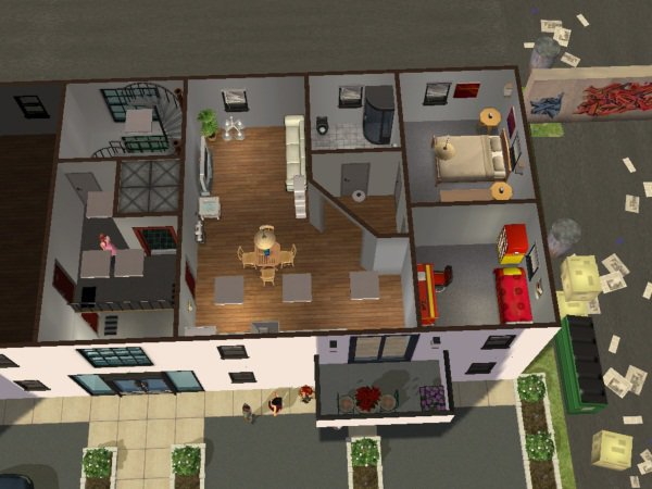 plan de l 39 apartment les maison et terrain sims 2. Black Bedroom Furniture Sets. Home Design Ideas