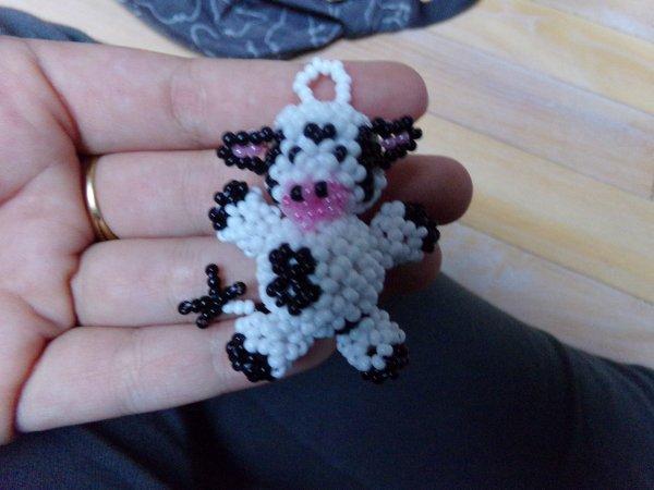 Porte clef Vache en perles