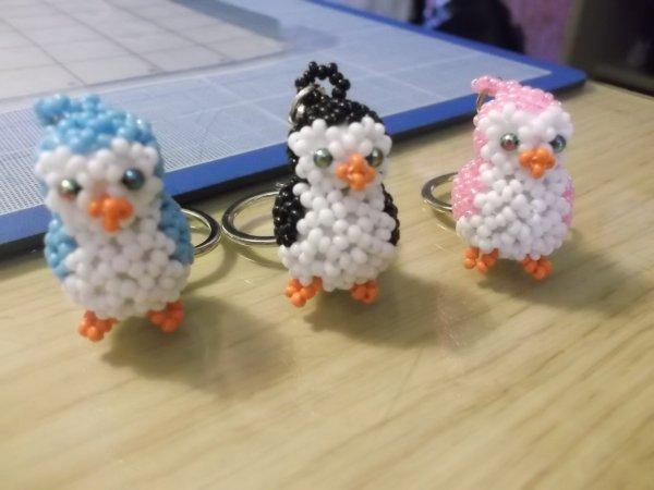 Porte clef Pingouin en perles