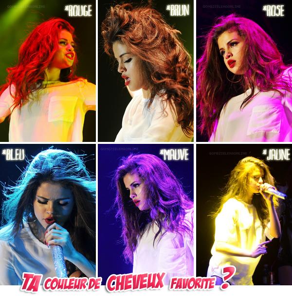 Les jeux de lumière créent des reflets sur la chevelure de Miss Gomez...
