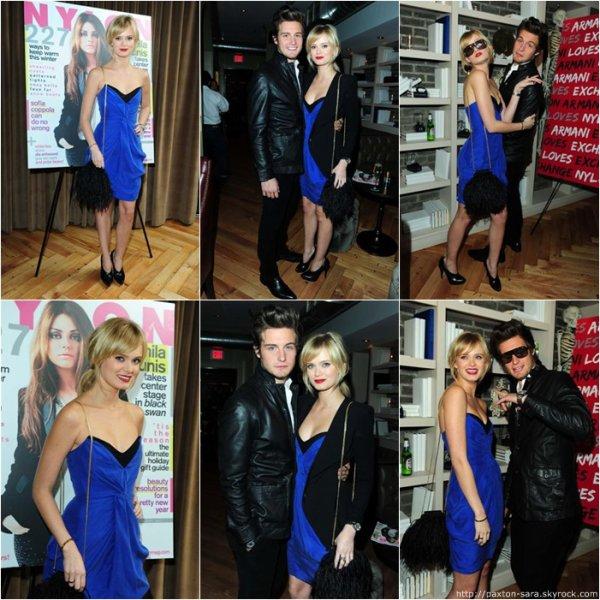 Le 9 décembre Sara et Nico Tortorella à l'hôtel Redbury pour le dîner de Nylon magazine et Armani Exchange .    Ils sont beaux :) !