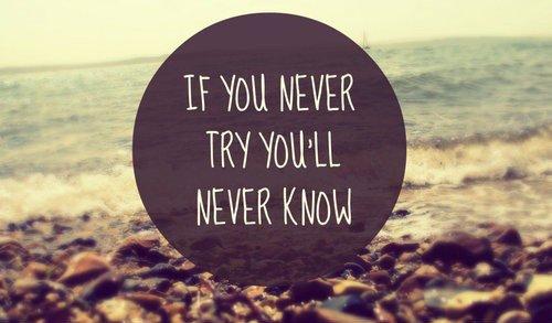 """""""Si tu n'essayes jamais, tu ne sauras jamais""""."""