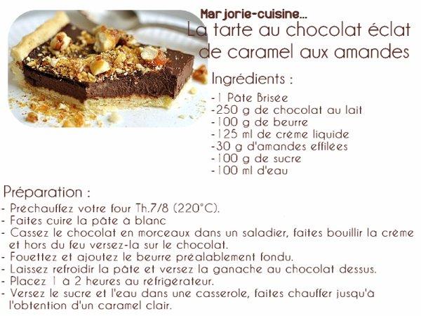 Tarte au chocolat, éclat de caramel croquant et amandes