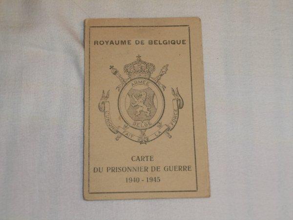 carte de prisonnier de guerre d'un soldat Belge