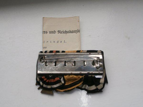 barrette de médaille Allemande de 14/18 avec sont diplome