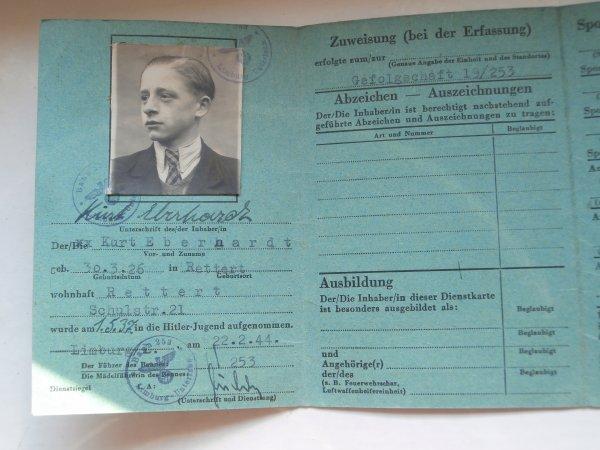 Dienstkarte der  Hitler-Jugend