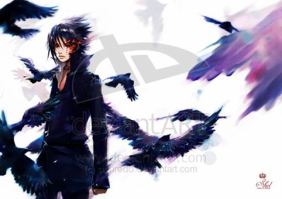 sasuke black feather.