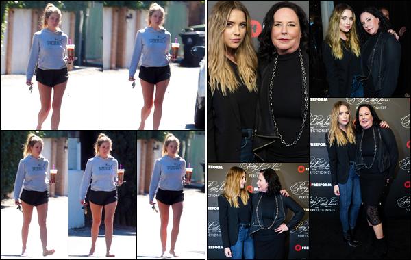 - ''•-15/03/19-' Ashley Benson a été photographiée alors qu'elle quittait la maison d'une amie dans Los Angeles. C'est en compagnie de sa petite-copine Cara Delevingne qu'elle a été vue ! Le soir l'actrice s'est rendue à l'avant-première de la série : The Perfectionists. -