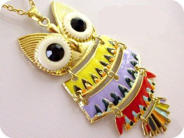 Le hibou multicolor ( collier)