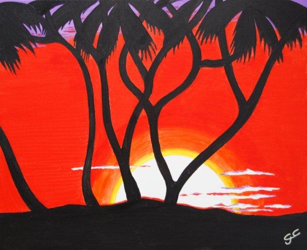 N°20 LEVER DE SOLEIL EN AFRIQUE toile 61X50