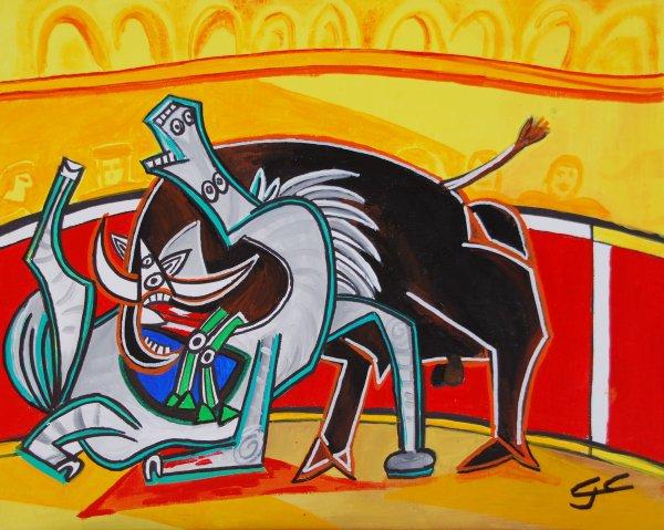 COMBAT D'INNOCENTS  50X40  à la manière Picasso