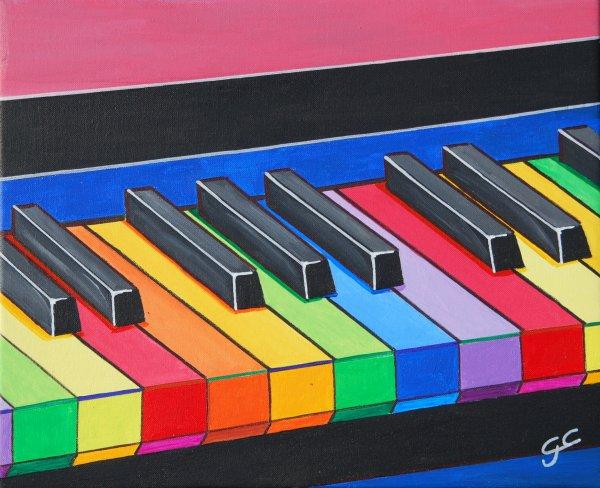 LE PIANO DES COULEURS  46X38  Acrylique