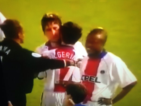 Nouveau! New! Maillot ALGERINO. Finale coupe d'Europe des vainqueurs de coupe. Barcelone/PSG. Saison 1996/1997.