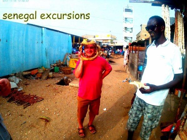 au depart de la somone avec nos amis de l'hôtel royal baobab pour un après midi sur le port de pèche de mbour
