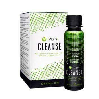 It Works! Cleanse est un nettoyant aux herbes doux mais efficace, à utiliser sur deux jours, contenant du gel de feuille d'aloe vera et de l'inuline de chicorée ; il aide votre corps de sorte à ce que vous vous sentiez en pleine forme et ayez l'air radieux !    Herbal Cleanse Blend : Contient du gel de feuille d'aloe vera et de l'inuline de chicorée, cette dernière contribuant au bon fonctionnement intestinal en augmentant la fréquence des selles.   Nutritional Cleanse Blend : Contient un complexe de 25 aliments, extraits de plantes et concentrés qui apporte une source supplémentaire de vitamines, minéraux, fibre et phytonutriments dont votre corps a besoin.