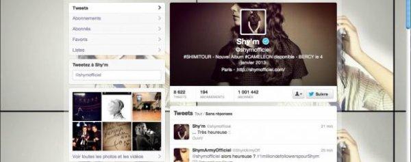 Shy'm dépasse les 1 MILLION Sur Twitter