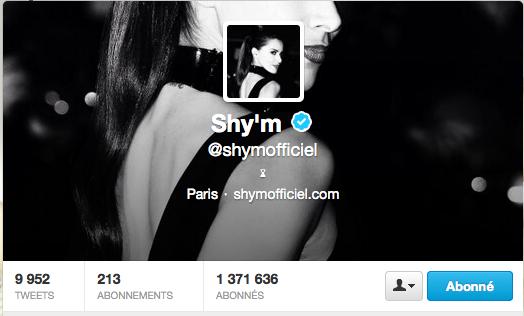 Nouveau design pour le compte Twitter de Shy'm