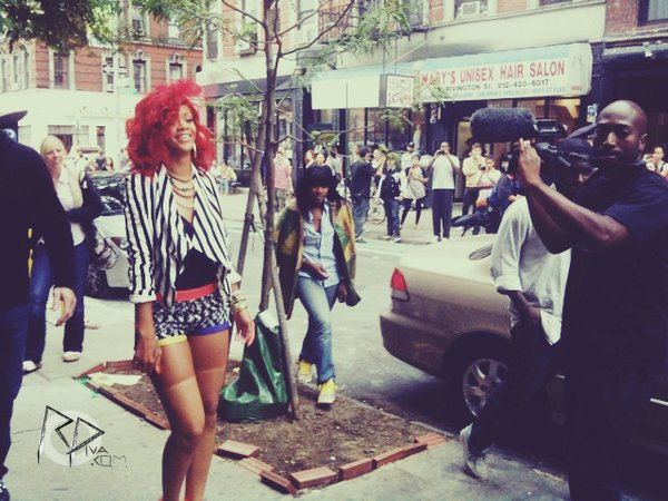 "Rihanna on the set of ""What's My Name"" in New York"