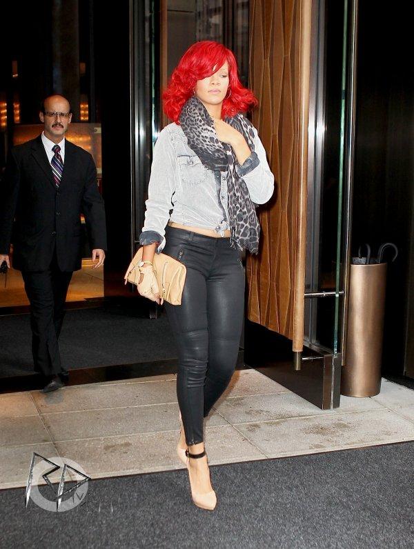 Rihanna leaving her hotel in New York